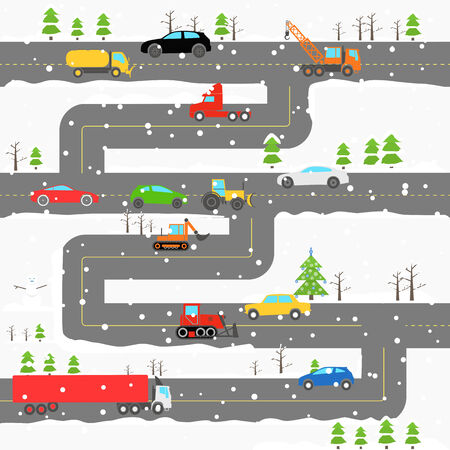 Winter road with cars illustration Vector