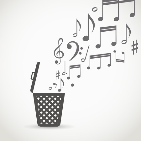 wastebasket: Notes flowing into a garbage basket