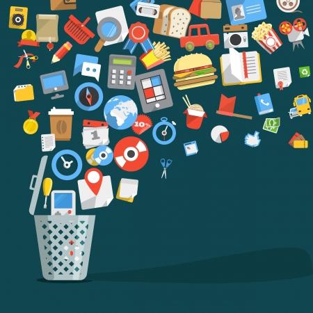 elementi: I moderni alla moda icone del design piatto icone che entrano in un cestino della spazzatura Vettoriali