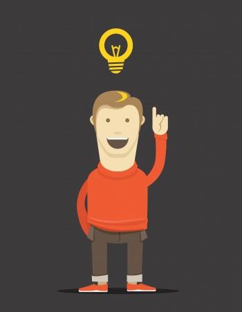 The thinking man illustration. Good idea Vector