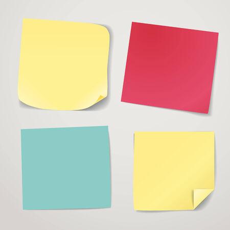 color paper: Colecci�n en blanco pegatinas de papel de colores. Plantilla para un contenido Vectores