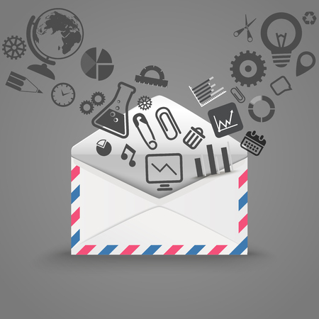 Open envelope with icons