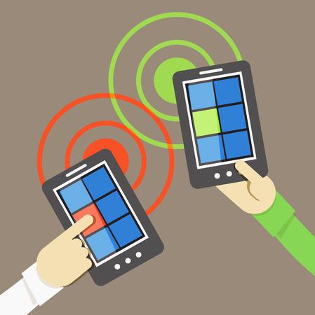 Mobile phone information transfer illustration Vector