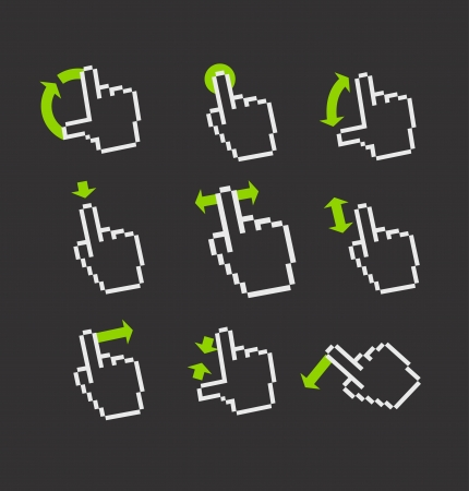 zoom icon: Pixel hand cursors collection in perspective  Guide with basic gestures to work with modern gadgets