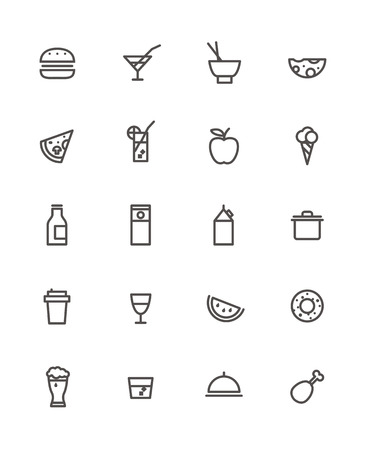 whisky bottle: Simple foob icons collection isolated on white
