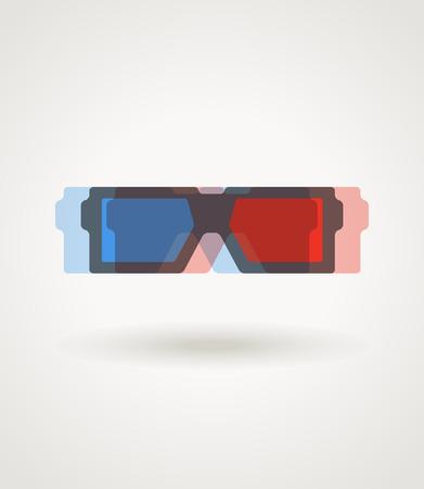 stereoscopic: Modern 3d cinema glasses illustration