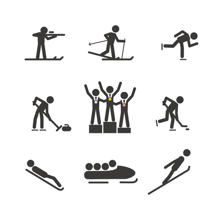 Winter sport silhouettes collection Vector