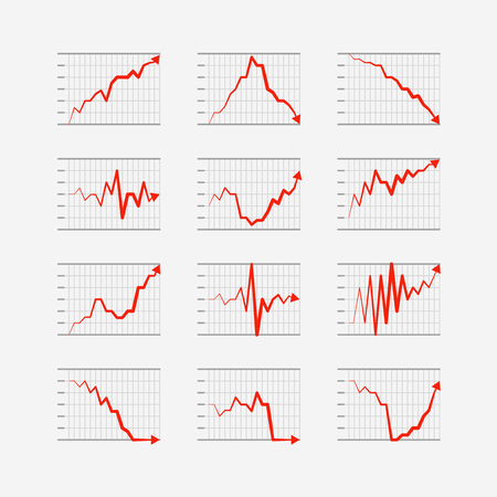 fluctuations: Graphic business ratings and charts collection  Infographic elements Illustration