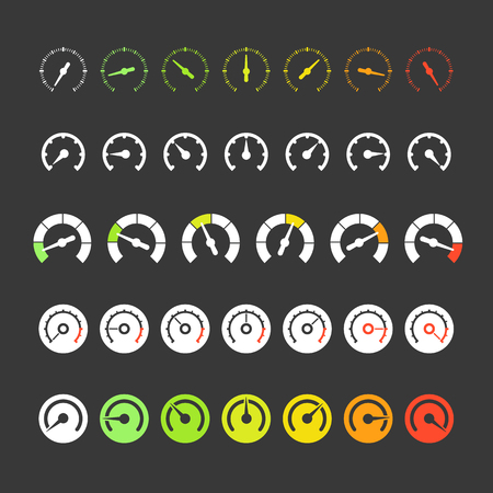 Different phases of speedometer icons Vector