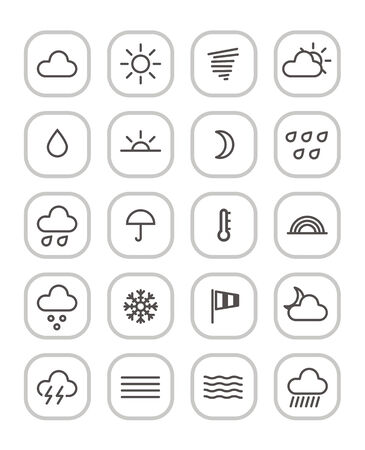 cloudy night sky: Weather forecast web icons collection isolated on white Illustration