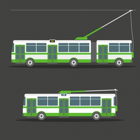 trolleybus: Vector city electric trolleybus collection