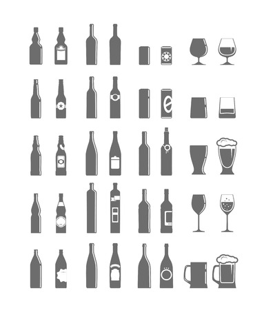 Different bottles and glasses set isolated on white Vector