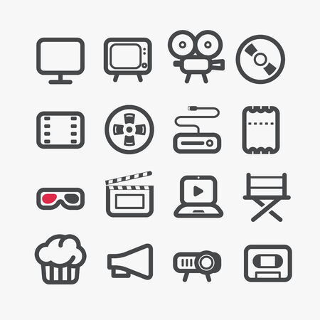 clap: Different video industry icons set with rounded corners  Design elements