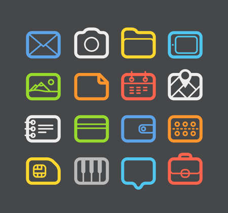 Different color Web icons set with rounded corners  Design elements Vector