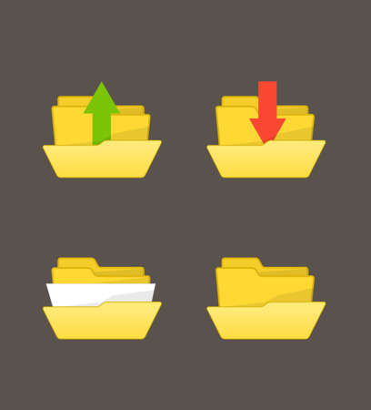 Yellow folders with different stuff Vector