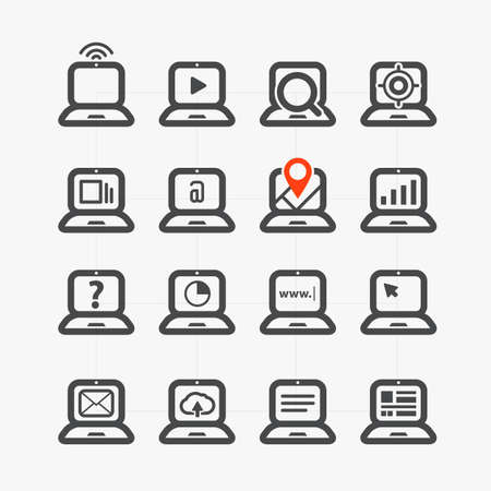 Different laptop icons set with rounded corners  Design elements Vector