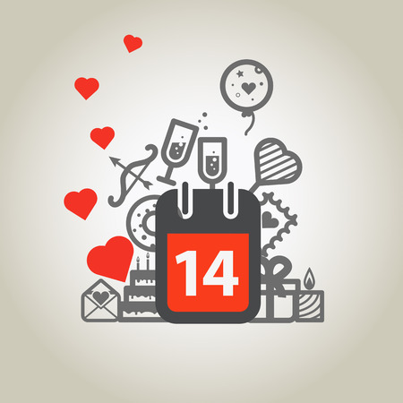 february 14: Different Valentines Day symbols  Happy Valentines Day Illustration