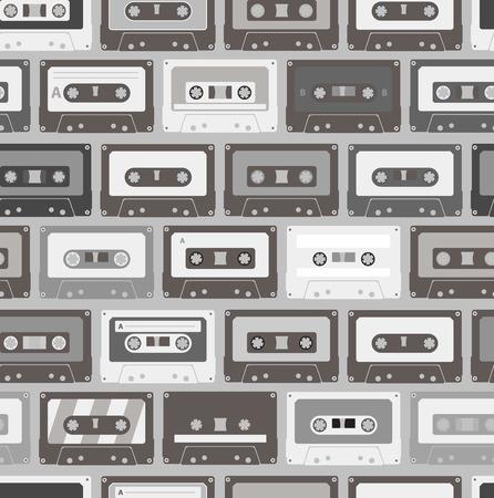 Vintage audio cassettes seamless background Vector