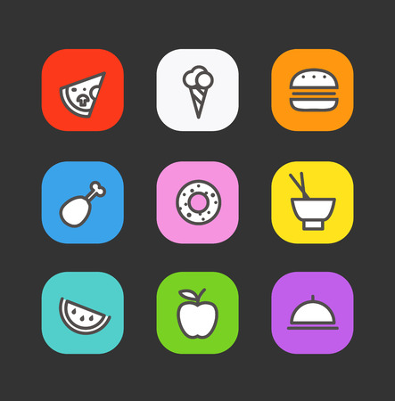 chineese: Simple style different food icons collection  Illustration