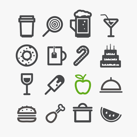 Different drinks and food icons set. Design elements Vector