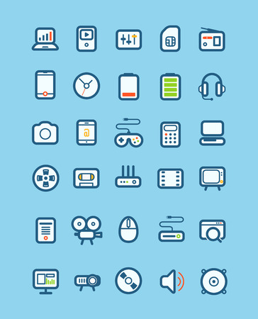 Different tech equipment icons set  Design elements Vector