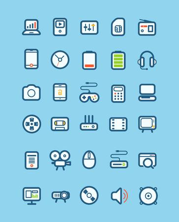 capacity: Different tech equipment icons set  Design elements