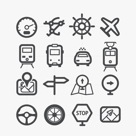 boat wheel: Different transport icons set with rounded corners  Design elements Illustration