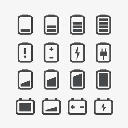 Different accumulator status icons set with rounded corners  Design elements Vectores