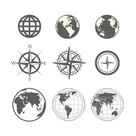 zeměkoule: Globe a větrná růžice kolekce schématu