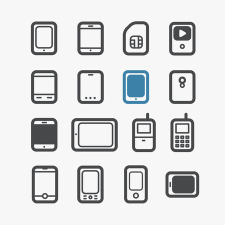 pda: Different mobile phones icons set with rounded corners  Design elements Illustration
