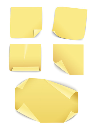 Blank yellow paper stickers collection  Template for a content Vector