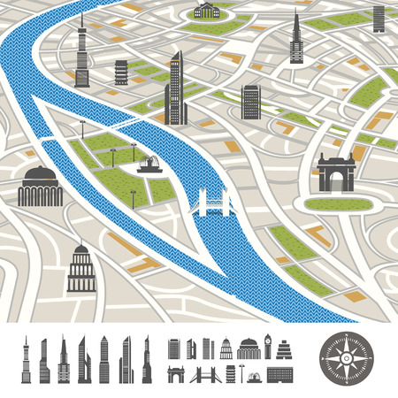 Abstract city map with silhouettes of houses  Illustration