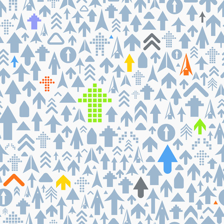 Seamless background of different arrows Vector