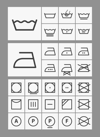 Washing instruction symbols collection Vector