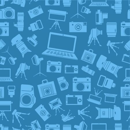 Photo equipment sillhouettes blue seamless background Vector