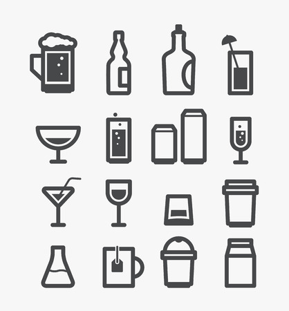 champagne glass: Different drinks icons set  Design elements
