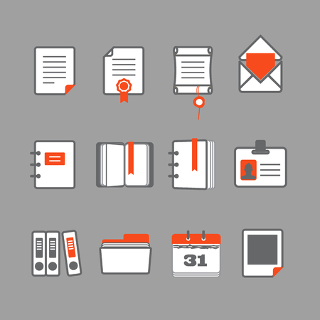 directory book: Office documents vector icons set
