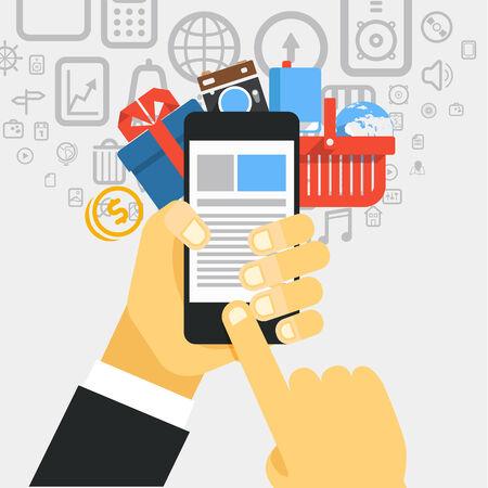 mobile commerce: Mobile commerce concept illustration. Design elements