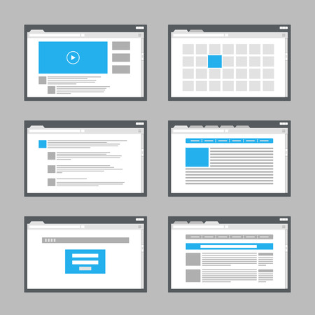 web screen: web site page templates collection Illustration