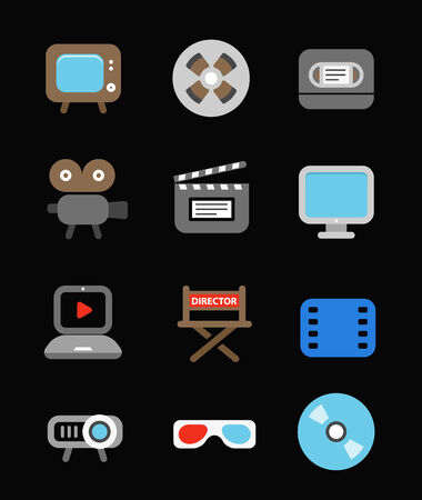 Different color media industry icons set. Design elements Vector