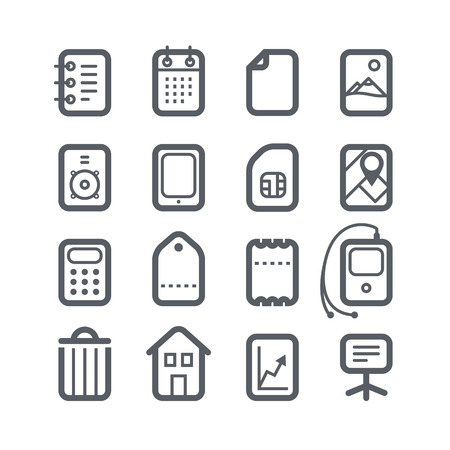Different vertical Web icons set with rounded corners isolated on white. Design elements Vector