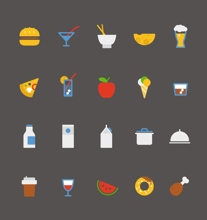 breakfast food: food icons collection  Flat design