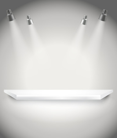 spot lights: Photorealistic bright stage with spot lights  Presentation vector template