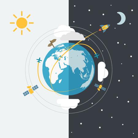 sun and moon: Abstract global modern transport scheme