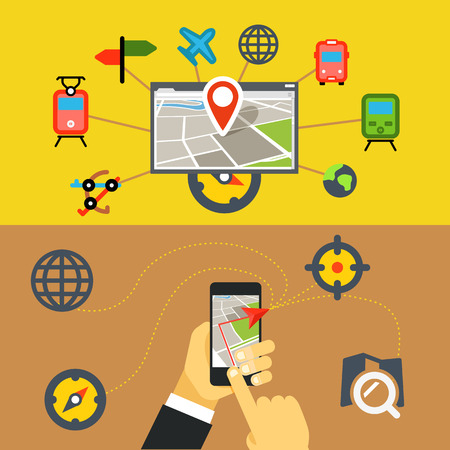 railway points: Transportation digital applications  Flat design concept Illustration