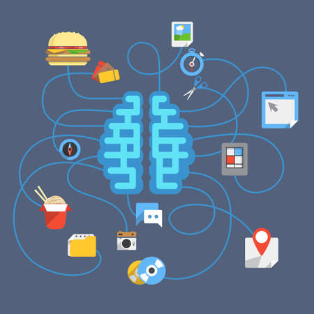 Abstract scheme with brain and different icons Vector