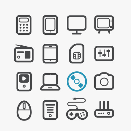 Different techno icons set with rounded corners  Design elements Vector