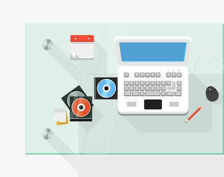 white laptop: Posto di lavoro con il computer portatile bianco Vettoriali
