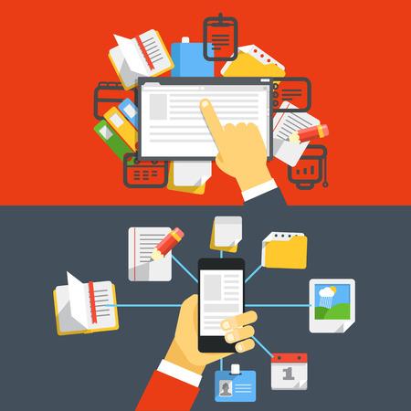 software icon: Digital media library  Flat design concept