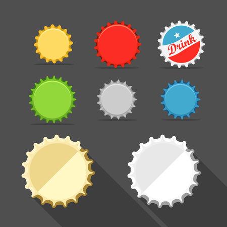 Different bottle caps set. flat design Vector